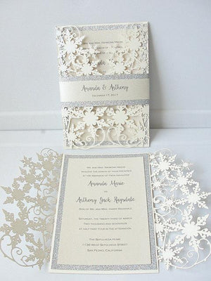 Winter Wedding Invitation, Snowflake Wedding Invite, December Wedding, Winter Wonderland Wedding, Snowflake Invite, SNOW - GLITZ