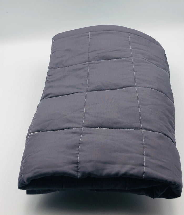 "Medium Size (38x40"") Grey Cotton 8lbs Weighted Blanket - FINAL CLEARANCE"