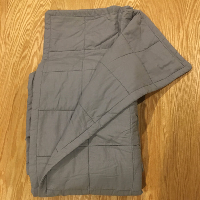 "New Custom Size (50x72"") Light Grey Cotton 17lbs Weighted Blanket - FINAL CLEARANCE"