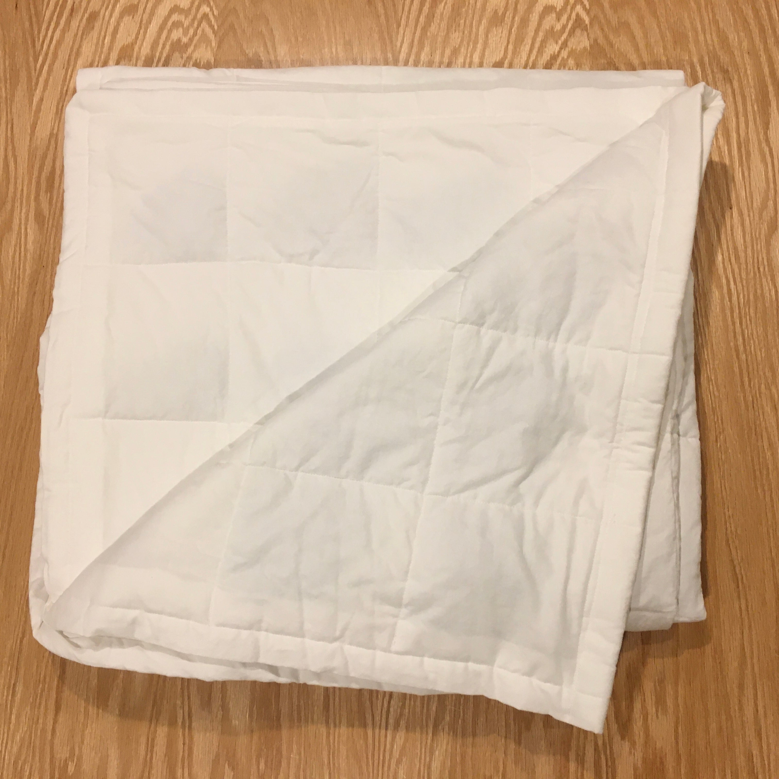 "New Twin Size (40x72"") White Cotton 15lbs Weighted Blanket - FINAL CLEARANCE"