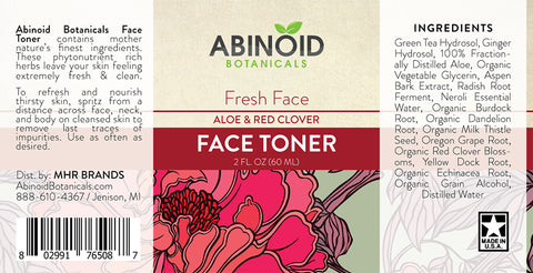 Abinoid Botanicals Face Toner 2 oz – Aloe & Red Clover, CBD skin care products, CBD for acne, Compare CBD skin products