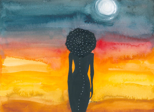woman standing in moonlight with white dots