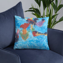 Load image into Gallery viewer, multicolored birds on a telephone wire throw pillow