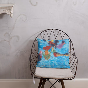 multicolored birds on a telephone wire throw pillow
