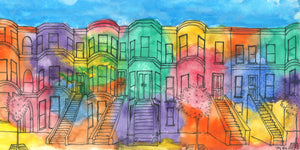 brownstones watercolor and ink print