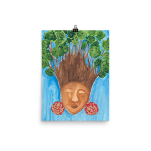 black woman with trees for hair