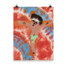 Load image into Gallery viewer, black jesus on a cross on a tie-dye background