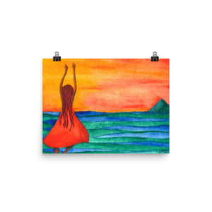 cartwheels by the sea watercolor painting poster