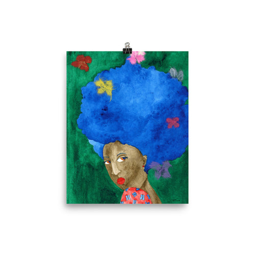 Butterflies in her Hair watercolor collage painting poster