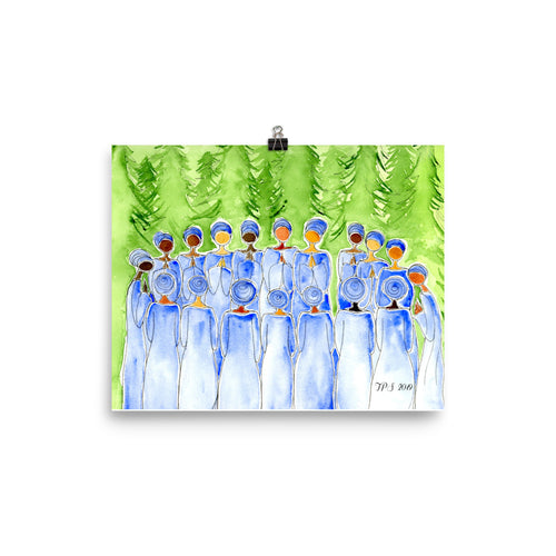 watercolor women nature silence trees painting poster