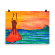 Load image into Gallery viewer, cartwheels by the sea watercolor painting poster