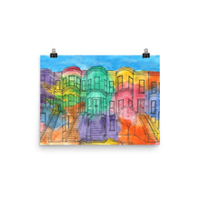Load image into Gallery viewer, brownstones watercolor and ink print