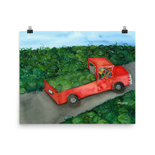 Load image into Gallery viewer, red truck in a field of watermelons