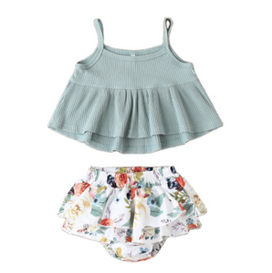 Ruffle Tank + Floral Bloomers - Baby Girl Summer Set - My Eco Tot
