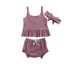 Lilly Lilac Peplum Tank + Bloomers - My Eco Tot