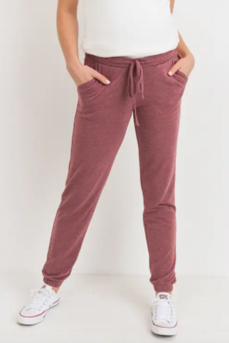 Two-Tone Brushed Terry Maternity Sweatpants - My Eco Tot