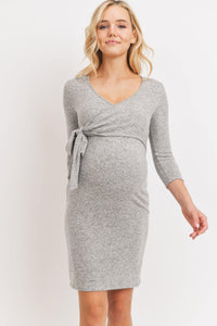 Brushed  Hacci Maternity & Nursing Dress Dress - My Eco Tot