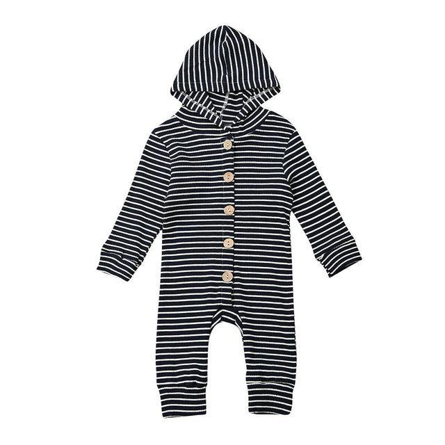 Long Sleeve Striped Hooded Romper - My Eco Tot