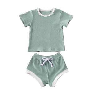 Sage Green Ribbed Toddler and Children's Summer Comfortable Affordable Shorts and Shirt. My Eco Tot is an affordable children's boutique. Zara kids  style without the Zara price.
