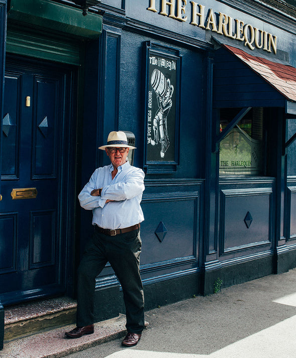 A picture of Joe Scarborough outside his favourite pub the Harlequin in sheffield