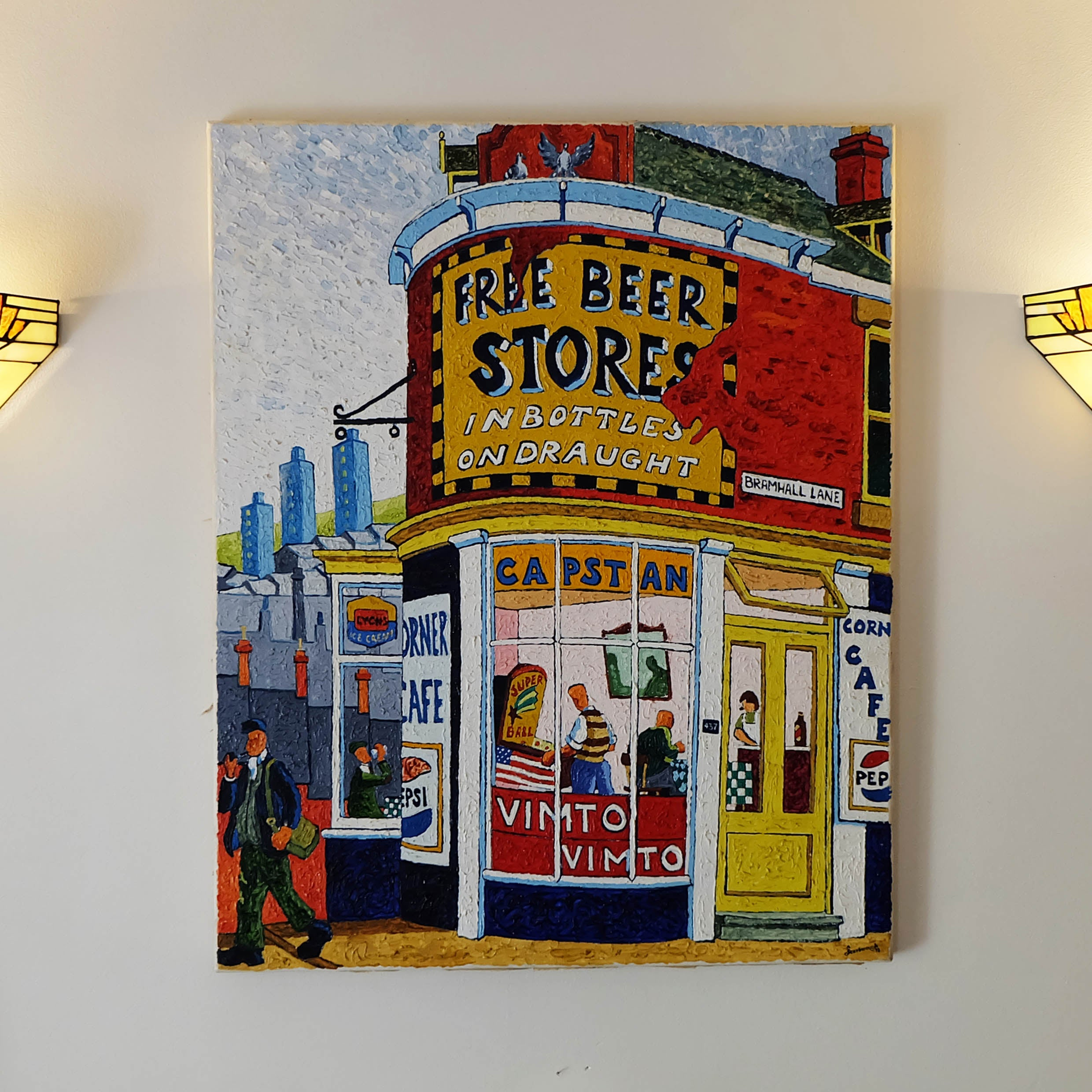 Beer Store on Bramall Lane - Original Oil Painting on Canvas by Joe Scarborough - Joe Scarborough Art