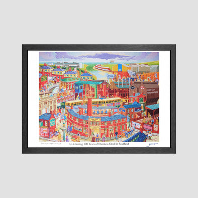 Celebrating 100 Years of Stainless Steel In Sheffield Signed Archive Artist Proof Art Print - Joe Scarborough Art