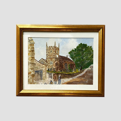 George Cunningham Original Watercolour 7. Church with Figures - Joe Scarborough Art