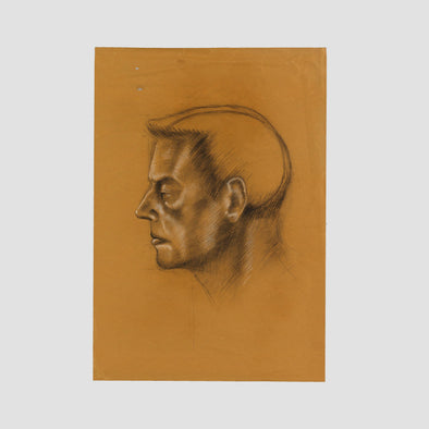 """Man Profile On Brown"" by Darren Baker, Original Sketch On Art Paper - Joe Scarborough Art"