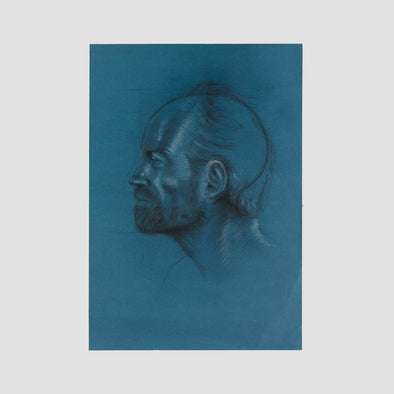 """Thimming Man On Blue"" by Darren Baker, Original Sketch On Art Paper - Joe Scarborough Art"