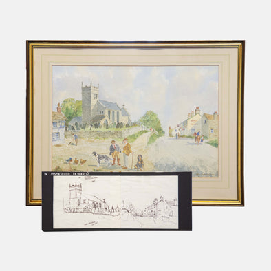 George Cunningham Framed Original Ink Sketch & Watercolour of 127. Holmesfield