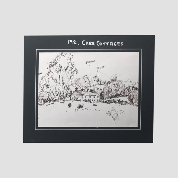 George Cunningham Original Ink Sketch 192. Carr Cottages - Joe Scarborough Art