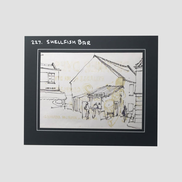 George Cunningham Original Ink Sketch 227. Shellfish Bar - Joe Scarborough Art