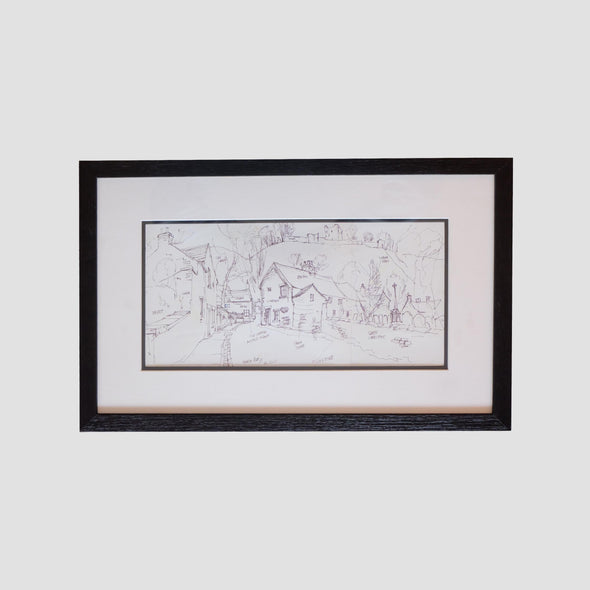 George Cunningham Framed Original Ink Sketch Back Street Castleton - Joe Scarborough Art