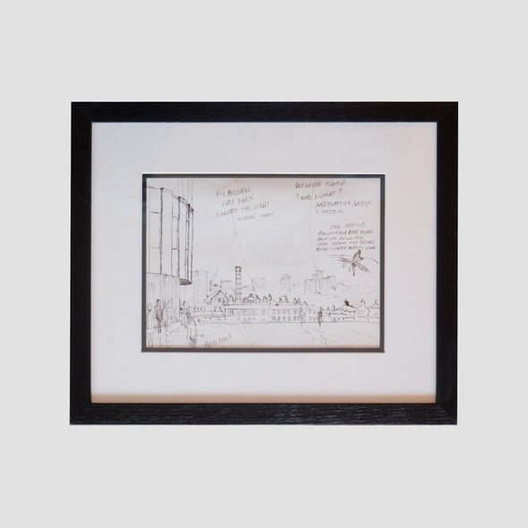 George Cunningham Framed Original Ink Sketch Sheffield Register Office - Joe Scarborough Art