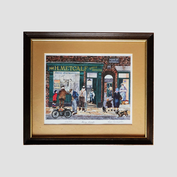 George Cunningham Signed Framed Print Harry Metcalf's - Joe Scarborough Art