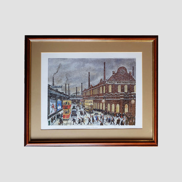 George Cunningham Signed Framed Print Tinsley at Christmas