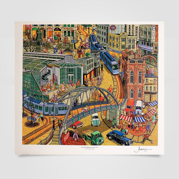 Joe Scarborough Signed Art Print Our Supertram, Our City - Joe Scarborough Art