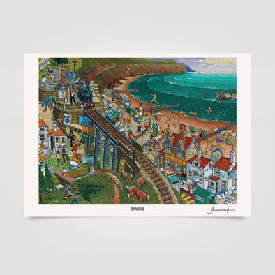 Joe Scarborough Signed Art Print Sandsend Hotel - Joe Scarborough Art