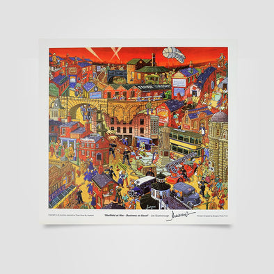 Joe Scarborough Signed Art Print Sheffield at War. Business As Usual - Joe Scarborough Art