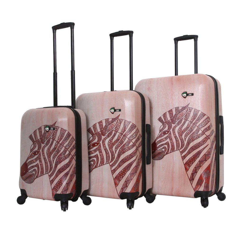 Mia Toro ITALY Joao Wood Zebra Hardside Luggage - My Gaia Travel Buddy