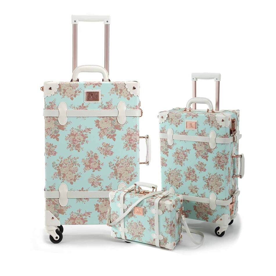 Blue Vintage Floral Luggage 3 PC Set
