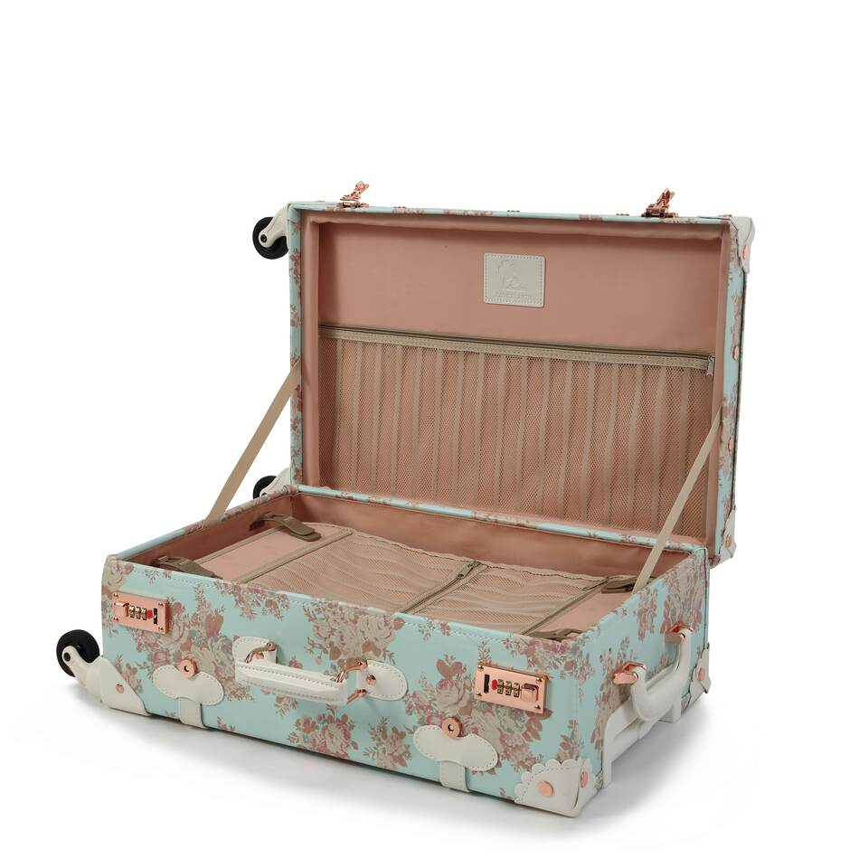 Blue Vintage Floral Luggage open