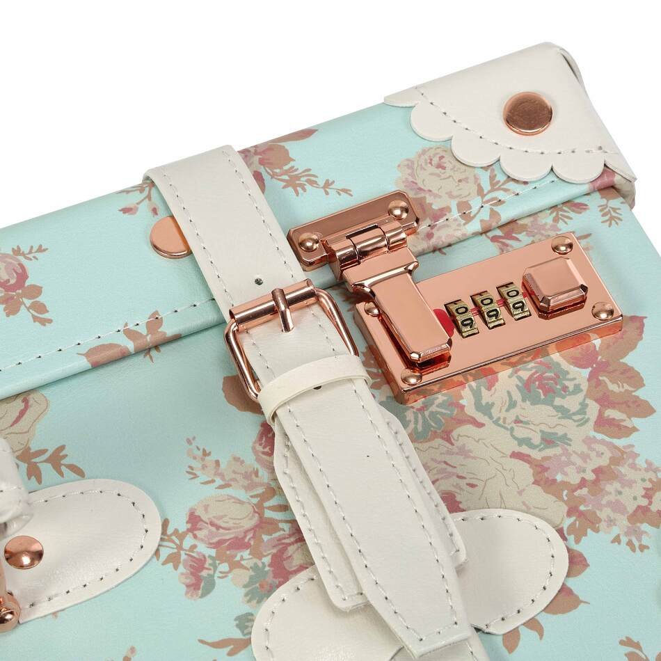 Vintage Floral Luggage with close up on the lock and the strap