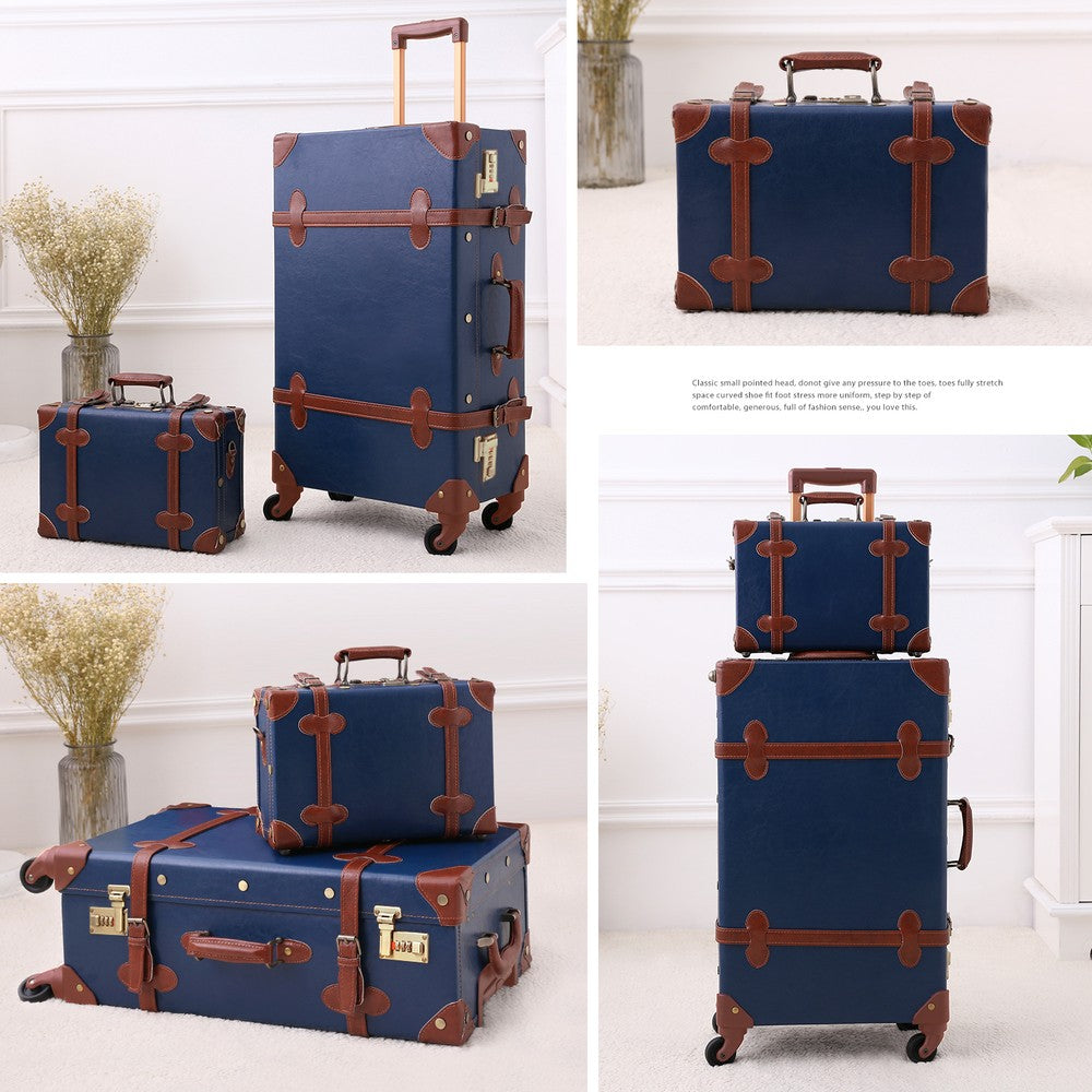 Vintage Style Travel Trunk Luggage Royal Blue Collection