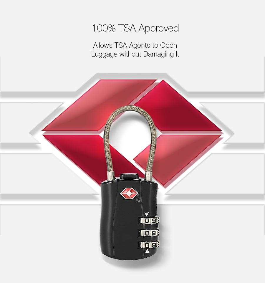 KCASA TSA Approved Combination Cable Lock - My Gaia Travel Buddy