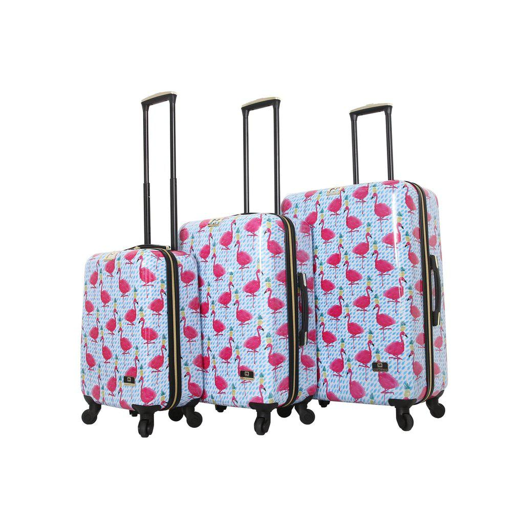 Halina Bouffants & Broken Hearts PARTY FLAMINGOS Hardside Luggage - My Gaia Travel Buddy