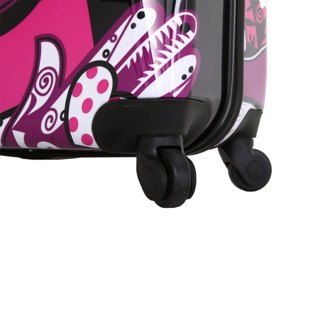 Mia Toro Hamsa Love Monochrome Hard Side Spinner Luggage - My Gaia Travel Buddy