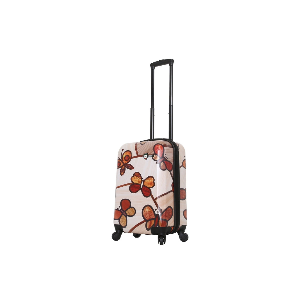 Mia Toro Ricci Wood Mozaic Butterflies Hardside Luggage - My Gaia Travel Buddy