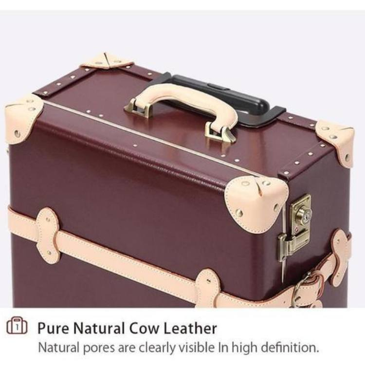 Vintage Style Genuine Leather Suitcase Luggage - My Gaia Travel Buddy