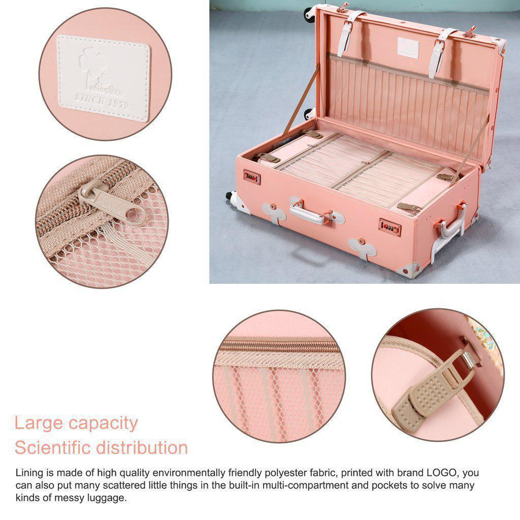 Bright pink luxury travel luggage open with details shown